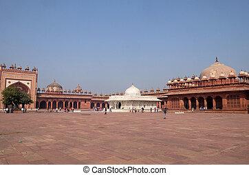 histórico, constructed, emperador, mughal, akbar, sikri, ...