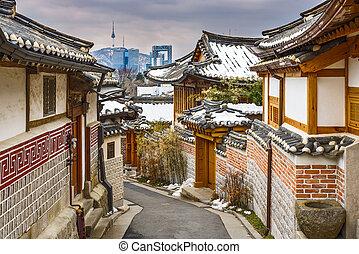 histórico, coreano, vizinhança