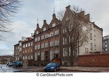 histórico, edifícios, em, a, histórico, parte, city.,...