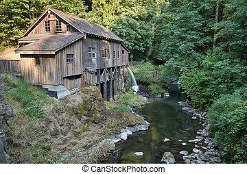 histórico, grist, moinho, ao longo, riacho cedro