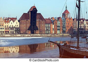 histórico, guindaste, em, gdansk