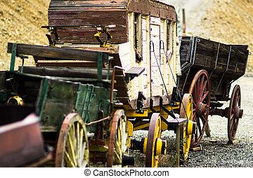histórico, horse-drawn, carruagem