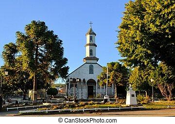 histórico, iglesia de madera, construido, por, jesuita, chiloe, chile