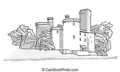 histórico, inglês, castelo, mão, desenhado, esboço