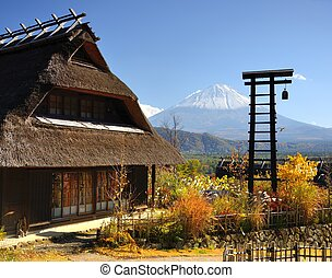histórico, japonés, chozas