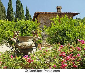 histórico, jardim, em, tuscany