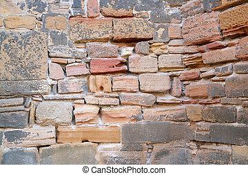 histórico, parede pedra, detalhe