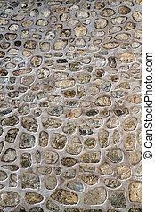 histórico, parede pedra, textura