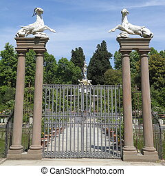histórico, portão, em, jardim