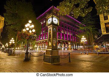 histórico, reloj del vapor, en, gastown, vancouver, ac