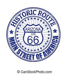 histórico, rota 66, arizona, selo
