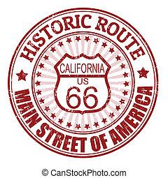 histórico, rota 66, califórnia, selo
