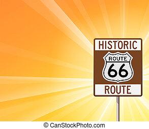 histórico, rota 66, ligado, amarela