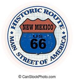 histórico, rota, novo, mexic, selo