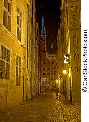histórico, rua, em, gdansk