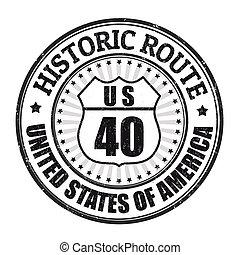 histórico, ruta, 40, estampilla