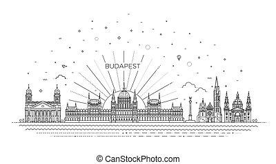 histórico, señal, edificio, viaje, húngaro