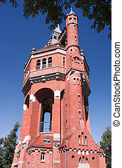 histórico, torre água, em, wroclaw, polônia