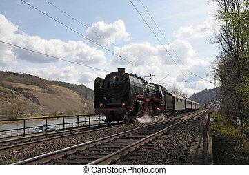 histórico, trem, alemanha, vapor