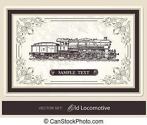histórico, trens, -, vetorial, jogo