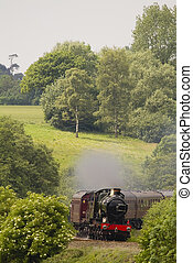 histórico, vapor, locomotiva