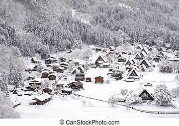 histórico, vilas, de, shirakawa-go, japão, em, nevado, day.