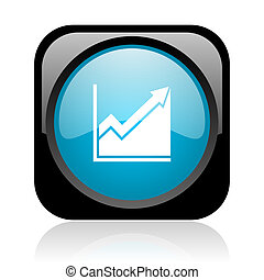 histogram black and blue square web glossy icon