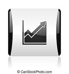histogram black and white square web glossy icon