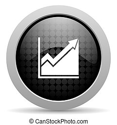 histogram black circle web glossy icon
