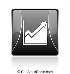 histogram black square web glossy icon