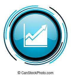 histogram blue circle glossy icon