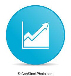 histogram blue circle web glossy icon