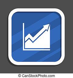 Histogram blue flat design square web icon
