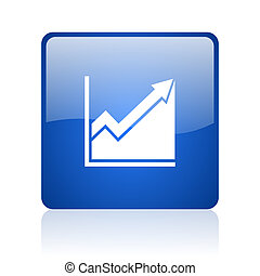 histogram blue square glossy web icon on white background