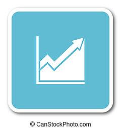 histogram blue square internet flat design icon