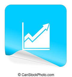 histogram blue sticker icon