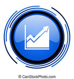 histogram circle blue glossy icon