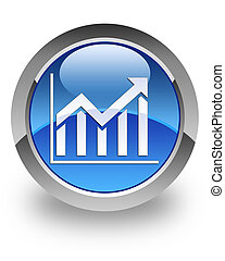 Histogram glossy icon - histogram icon on glossy blue round...