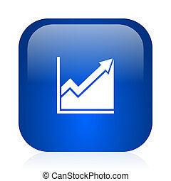 histogram icon - blue glossy computer icon