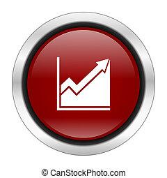 histogram icon, red round button isolated on white background, web design illustration