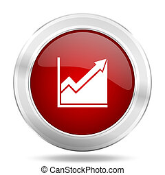 histogram icon, red round glossy metallic button, web and mobile app design illustration