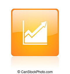 histogram orange square glossy web icon