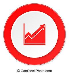 histogram red circle 3d modern design flat icon on white ...
