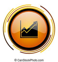 histogram round design orange glossy web icon