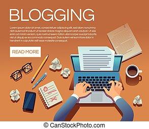 histoire, blogging, articles., concept., écrivain, copywriter, illustration, écriture, blog, livre, vecteur, journaliste, type, ordinateur portable