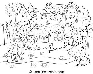 histoire, coloration, manger, coloré, quelques-uns, scène, profond, bonbons, vecteur, paire, forêt, enfantin, petite maison, enfants
