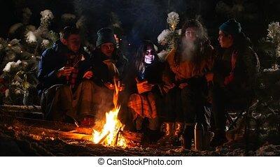 histoire, couverture, groupe, hiver, séance, effrayé, obtenir, forest., écoute, emballé, amis, feu