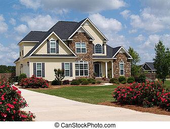 histoire, deux, maison, résidentiel