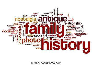 histoire, famille, mot, nuage