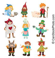 histoire, gens, dessin animé, icônes